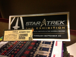 Star Trek exhibit bumper sticker and Nimoy autograph ticket stub
