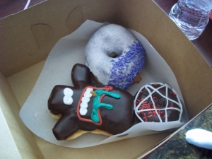 My friend ordered the signature jelly filled voodoo doll doughnut.